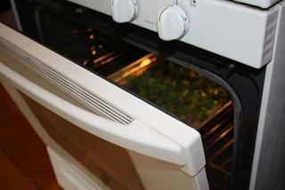 Oven drying herbs with door open.