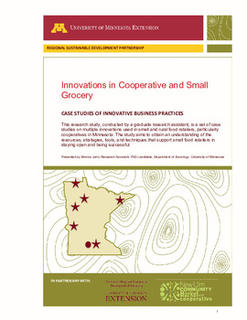 "Title page of ""Innovations in cooperative and small grocery"" report."