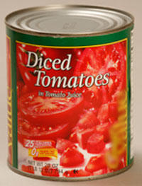 Metal can of tomatoes.