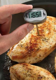 Thermometer in a chicken breast.