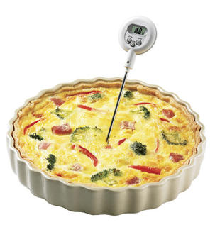 Thermometer in quiche.