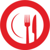 Icon of dinner plate with fork and knife