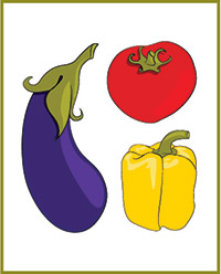 Illustration of vegetables in the tomato family: tomato, yellow pepper, eggplant