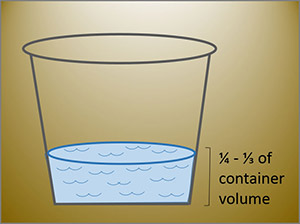 illustration of a transparent bucket filled with water at one-fourth to one-third of the volume of the bucket